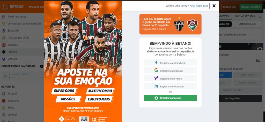Código promocional Betano Brasil 2021