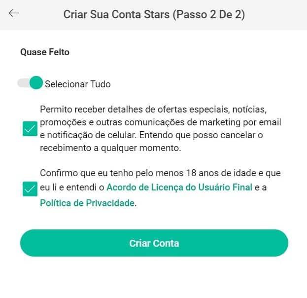 Codigo Bonus PokerStars formulário de cadastro 2