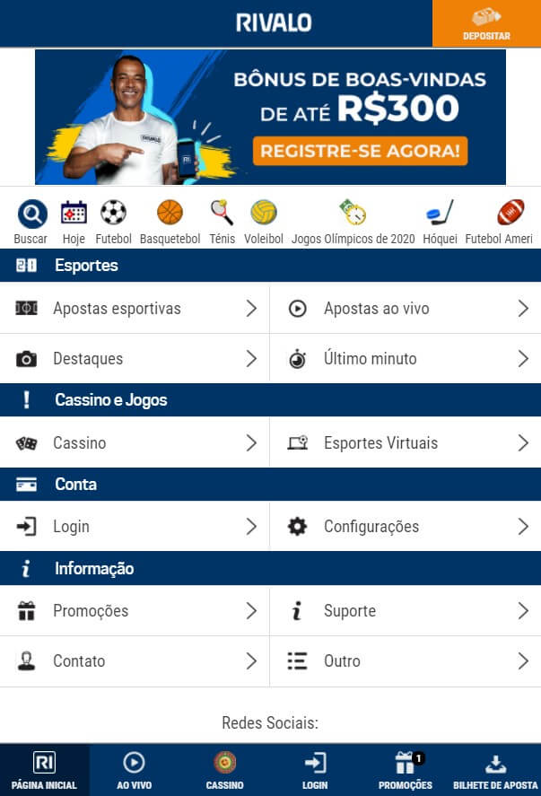 Rivalo app - home