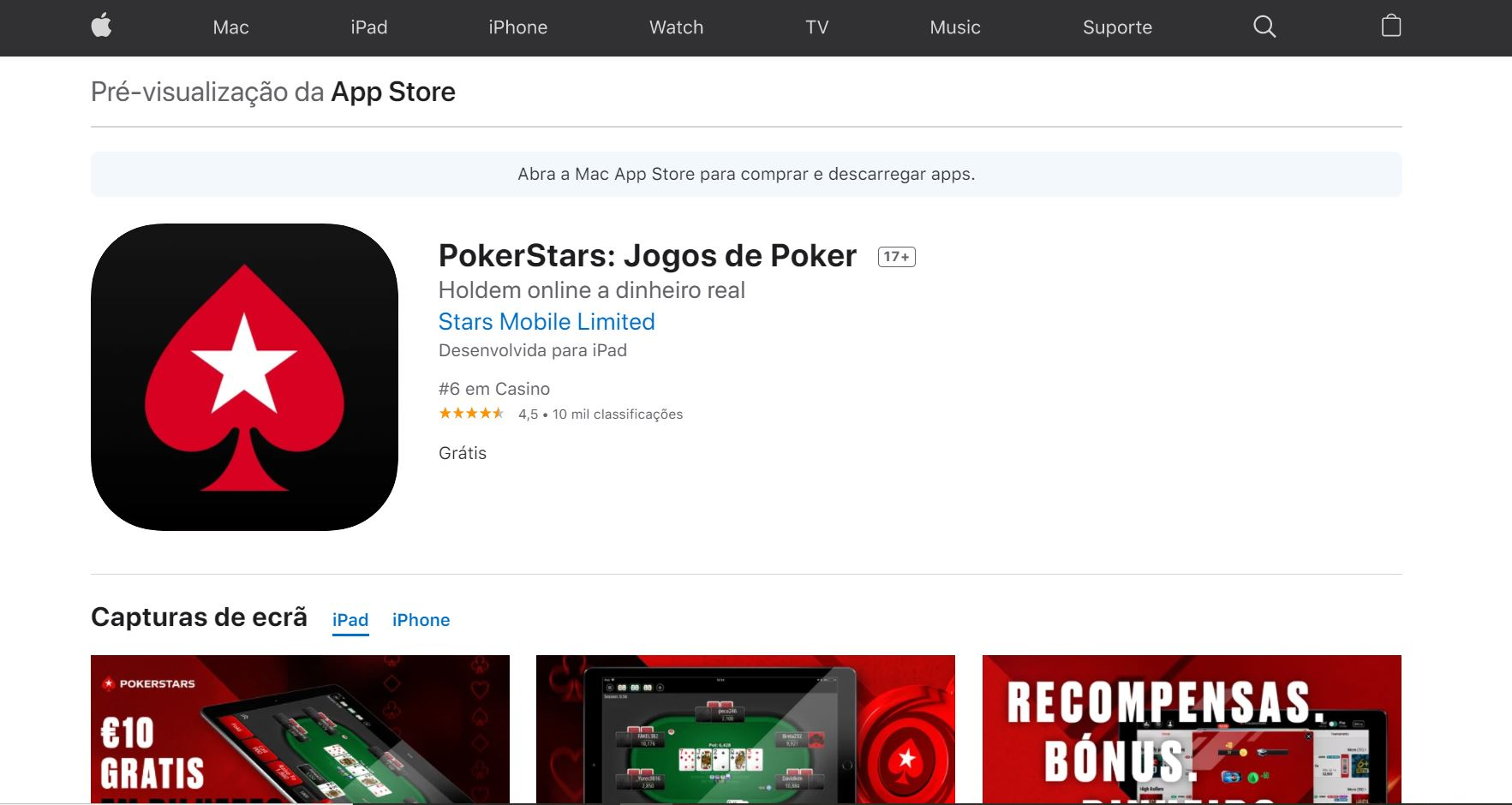 pokerstars app apple store