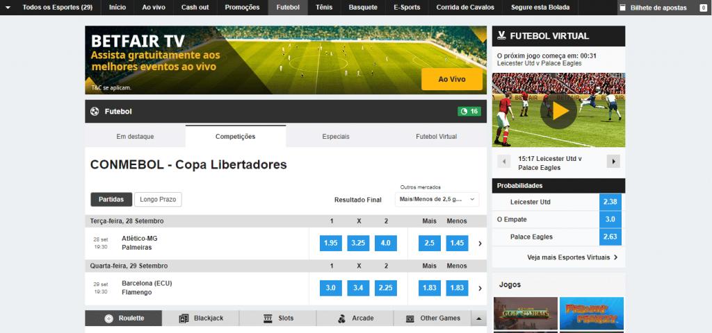 inscreva-se na betfair para apostar na copa Libertadores