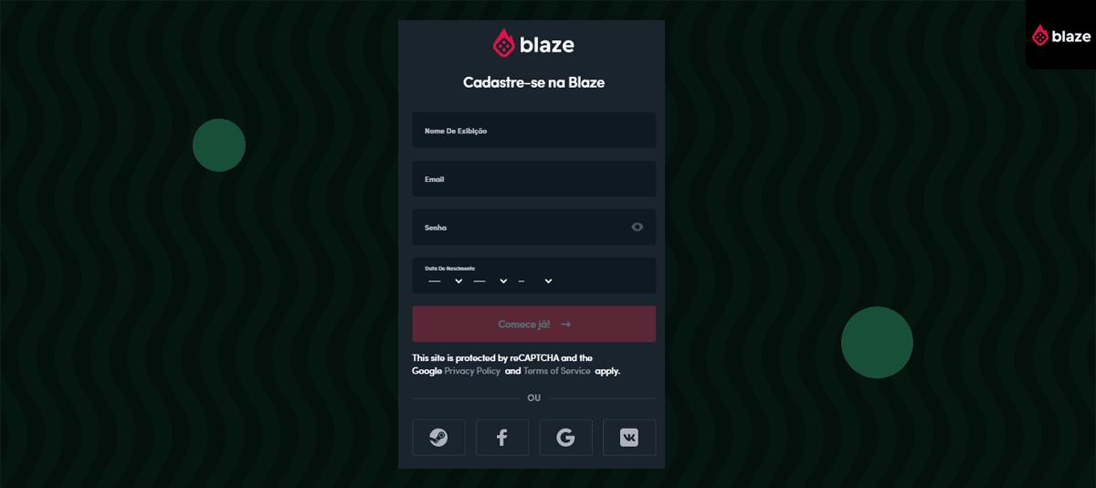 Código apostas Blaze